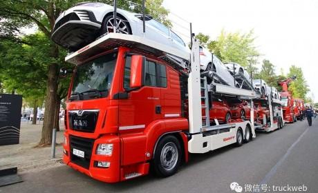 小三轴6x2驾驶室削顶,欧洲主流的曼恩TGS 23.460中置轴轿运车