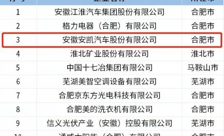 """安凯客车荣获""""2018年安徽省百强高新技术企业"""""""