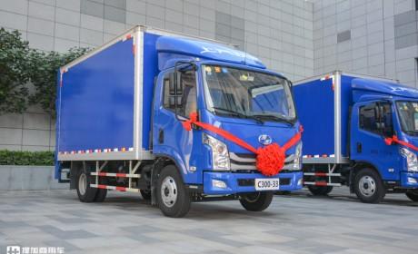 搭载上柴V动力发动机,上汽跃进向德邦交付百台超越C300轻卡