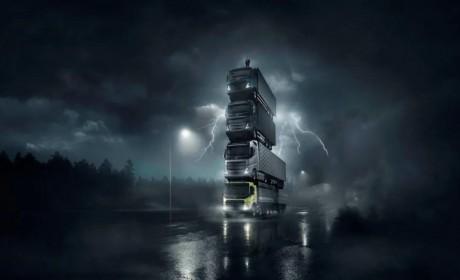 沃尔沃卡车即将推出四款新车,宣传大片中卡车叠罗汉