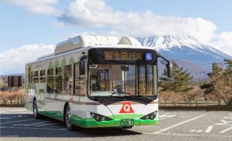 """日本""""圣岳""""富士山迎来首批纯电动大巴 ,比亚迪助力山梨县实现出行电动化"""