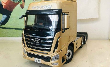 最值得收藏的卡车模型之一,做工精致细节到位,现代创虎牵引车模型评测