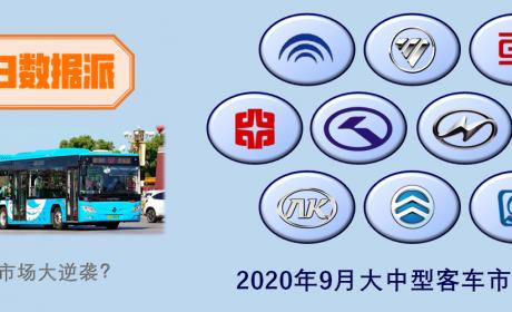 宇通公交销量居榜首,北汽福田销量第二,9月大中型客车市场详析