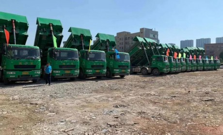 交车100台订车100台,百台华菱智能环保渣土车交车仪式在东莞隆重举行