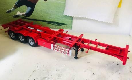 24比例集装箱骨架半挂车模型开箱,明义制造做工精良,很值得收藏