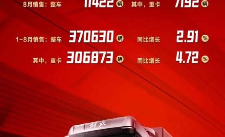 一汽解放1-8月累计销售超37万辆