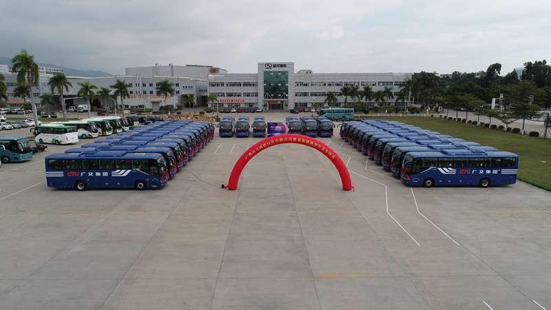 """【金龙】可信赖""""伙伴"""",广州交通旅行社喜迎30辆金龙纯电通勤大巴"""